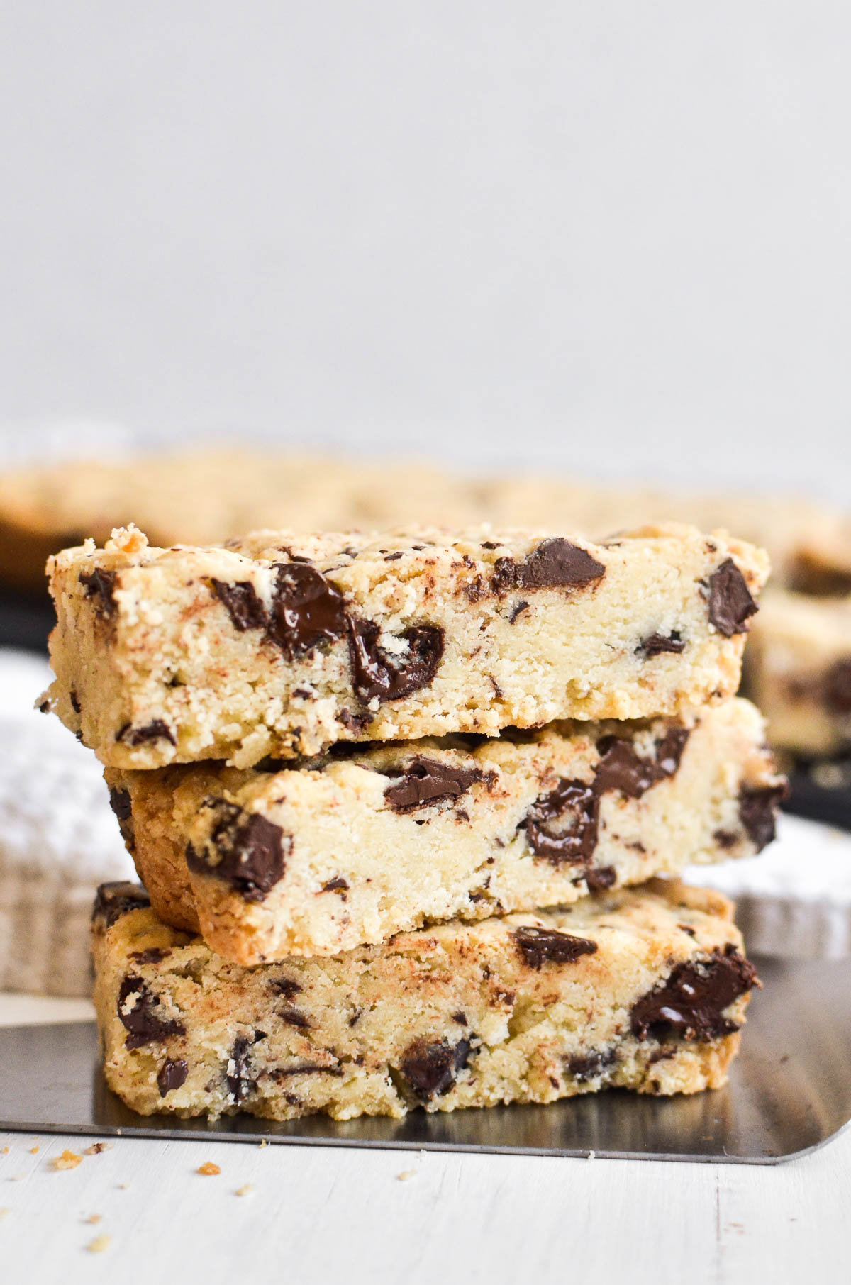 A stack of chocolate chip shortbread cookies.