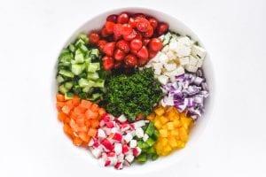 chopped veggies in a white bowl