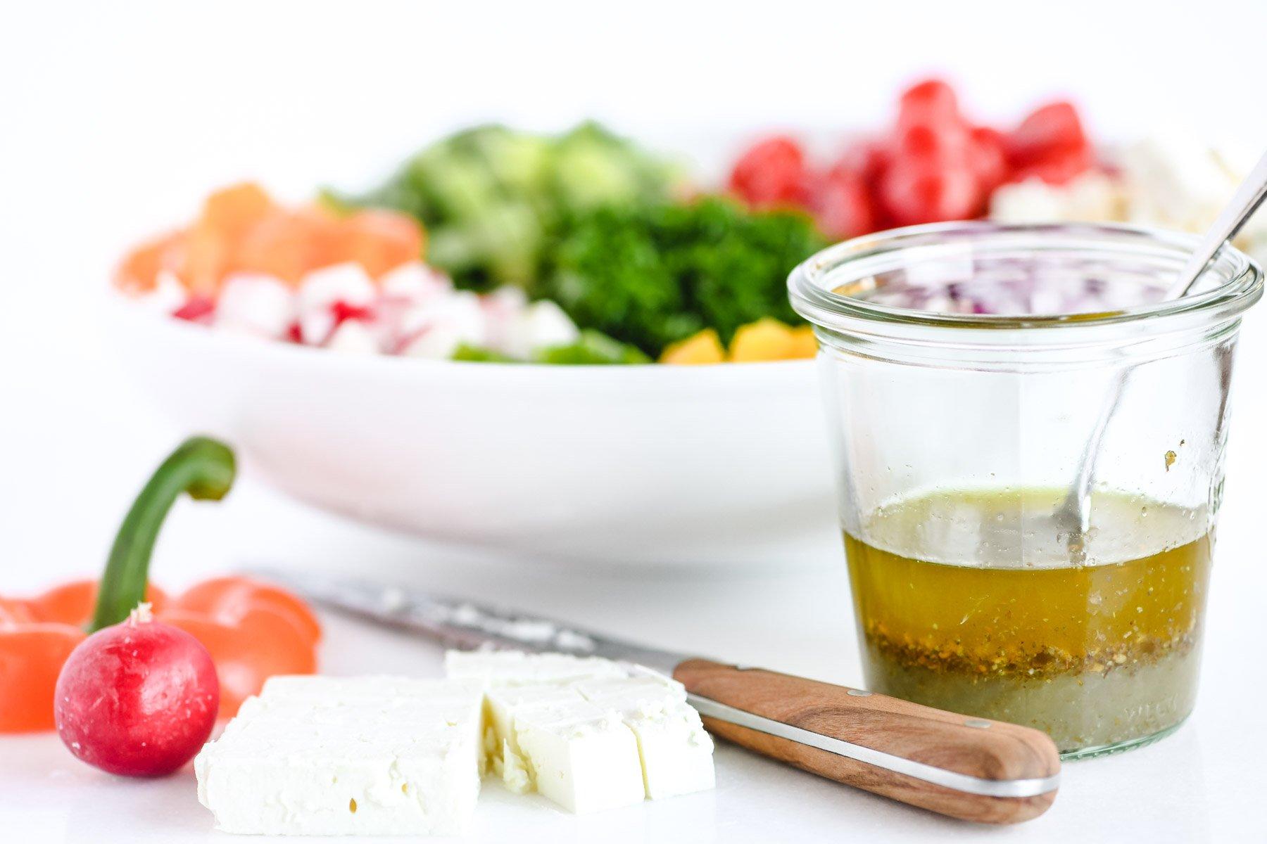 making an Israeli salad
