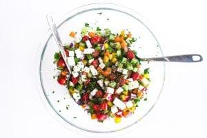 chopped Israeli salad, tossed