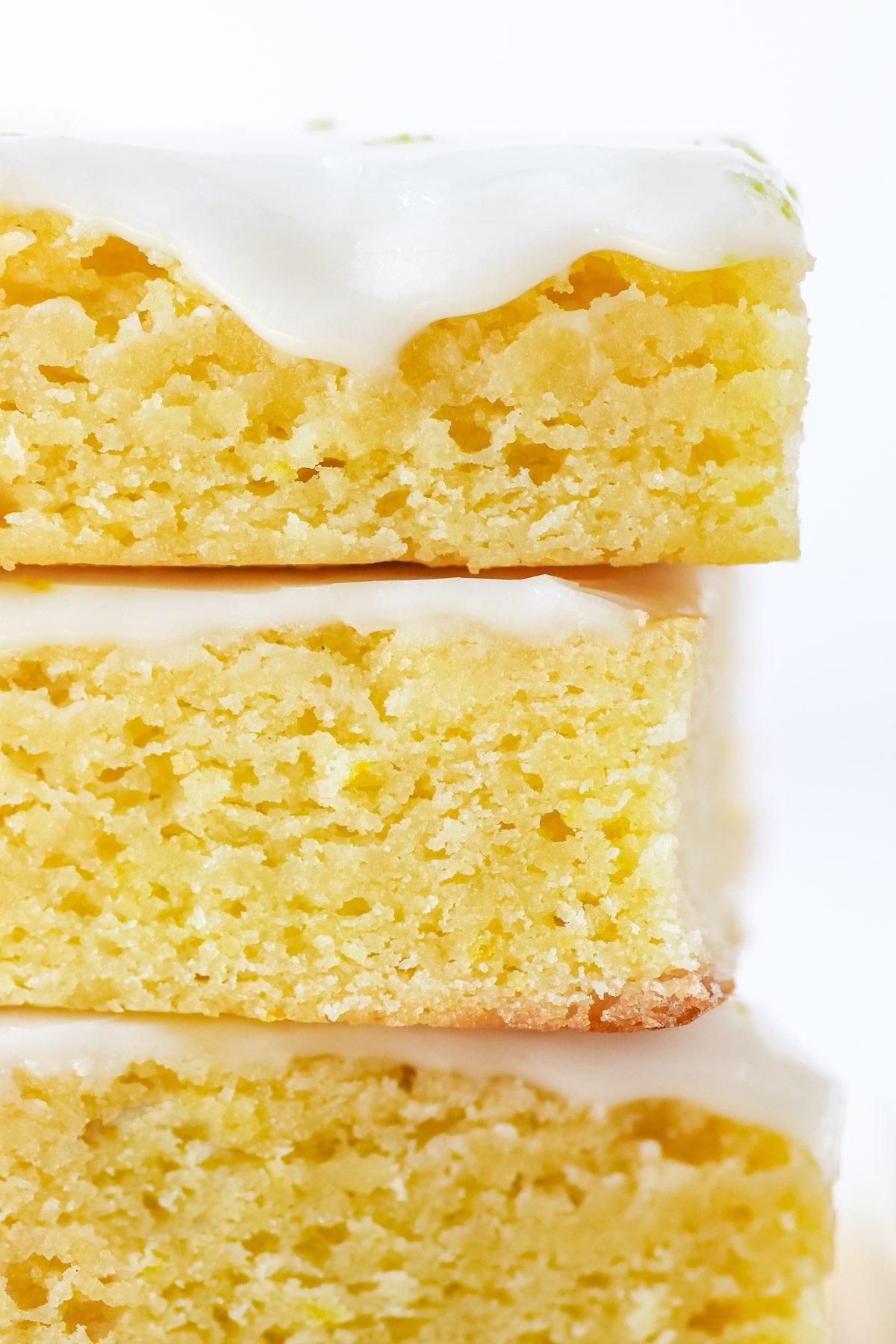 a stack of lemon brownies