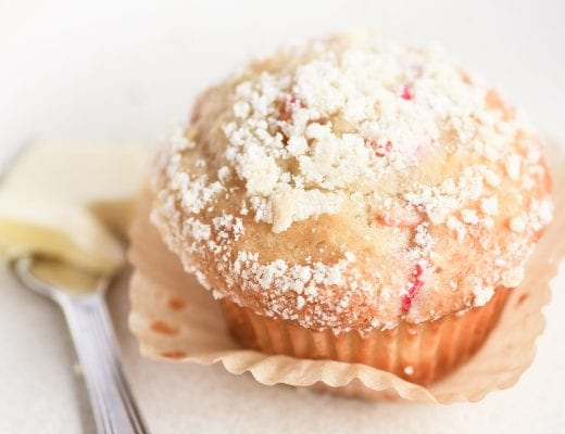 rhubarb muffin with butter