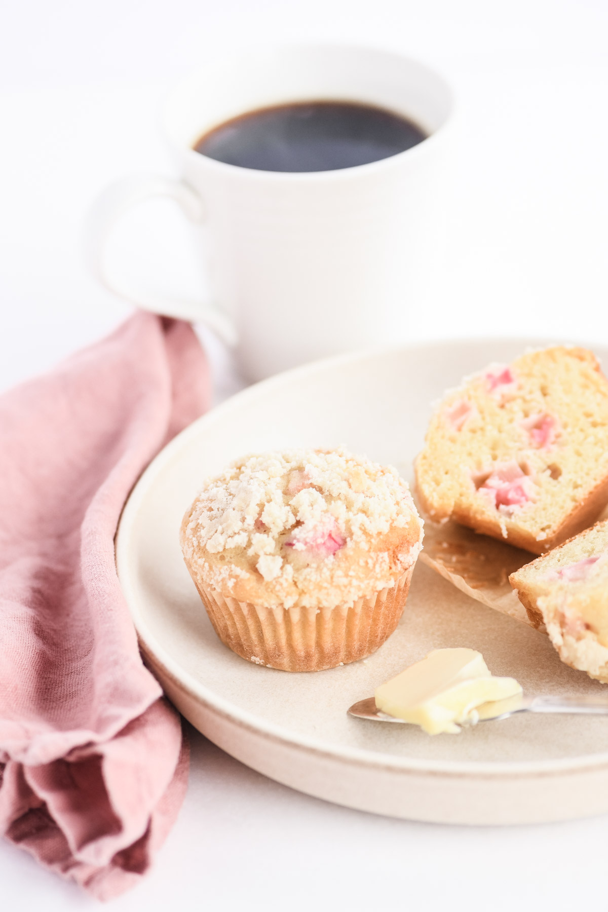Rhubarb muffins with a cup of coffee