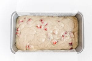 strawberry bread in pan ready to bake
