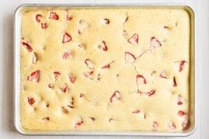 strawberry sheet pan pancakes just baked
