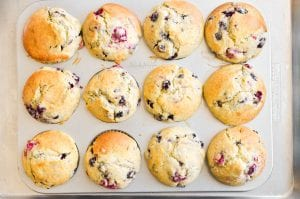 berry muffins, baked