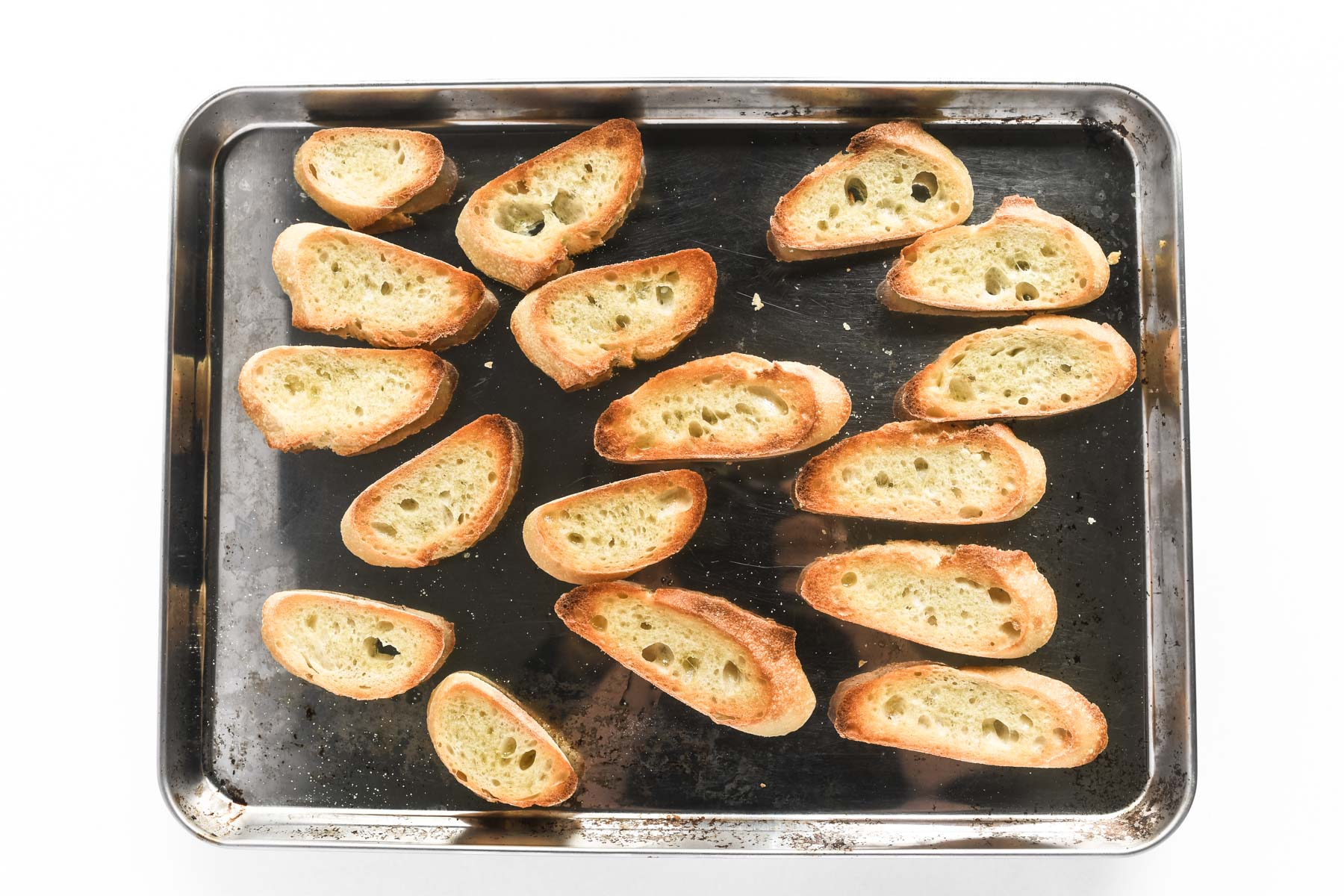 toasting bread in the oven