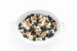 olives and feta cheese in a baking dish