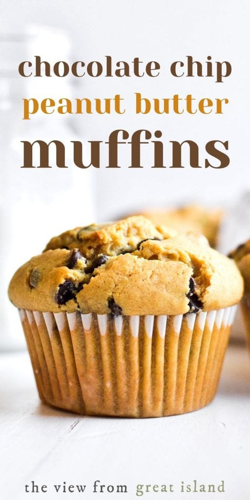 chocolate chip peanut butter muffins pin