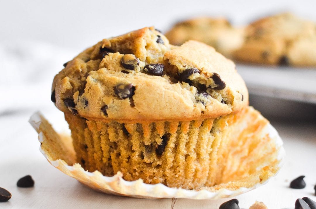 chocolate chip peanut butter muffin, unwrapped