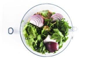 ingredients for falafel in a food processor