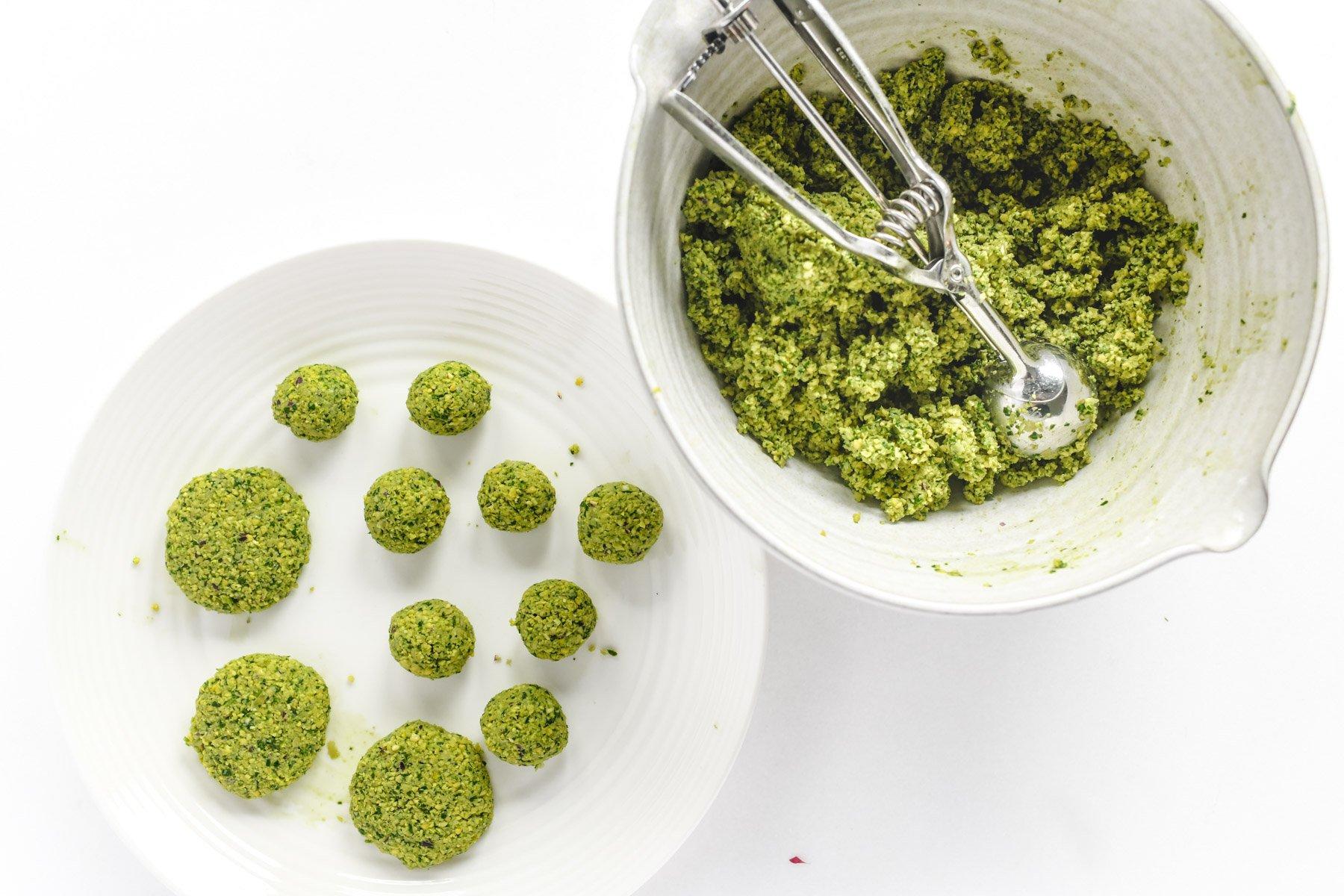 forming falafel balls and patties