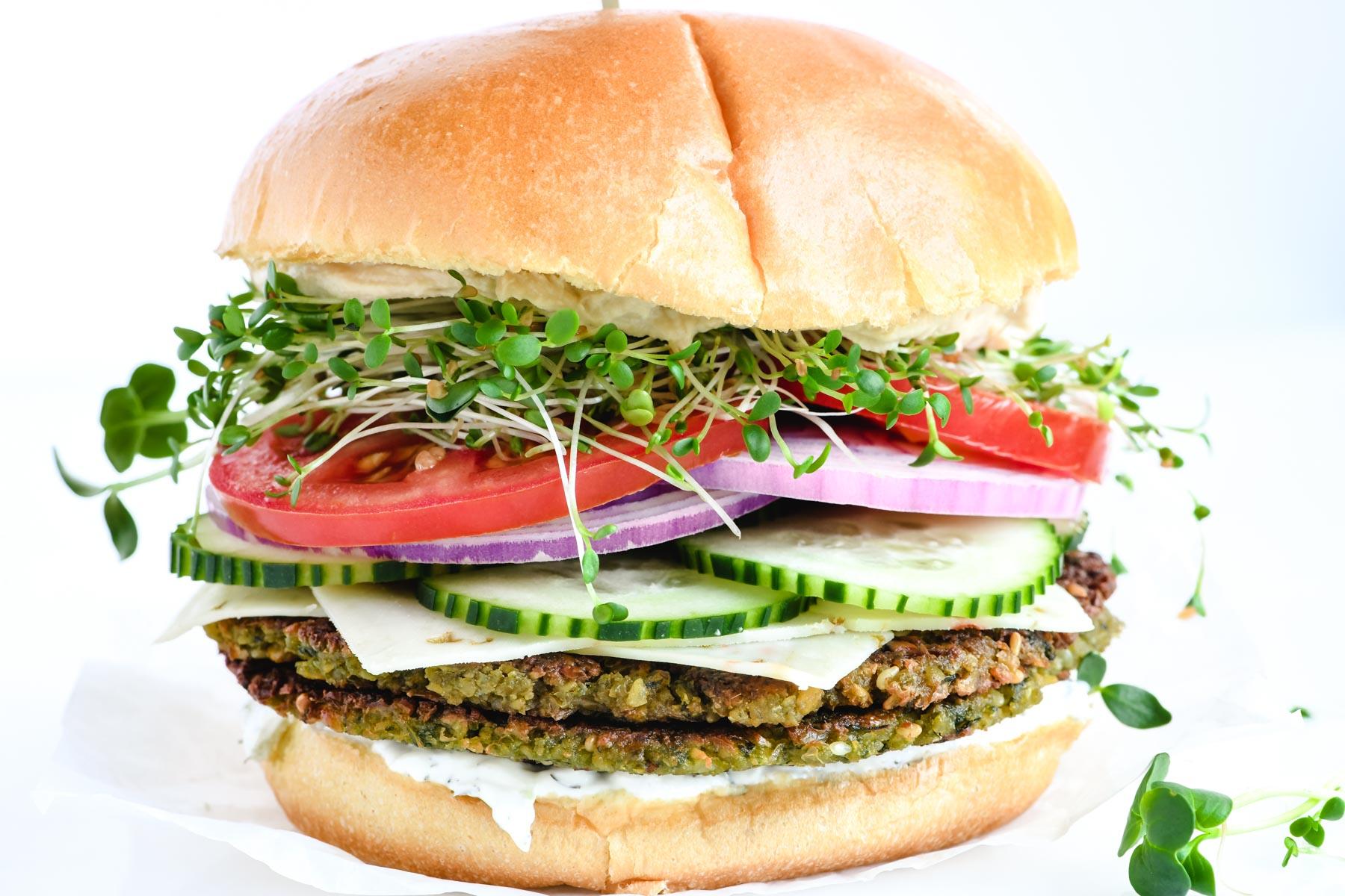 falafel burger with the works