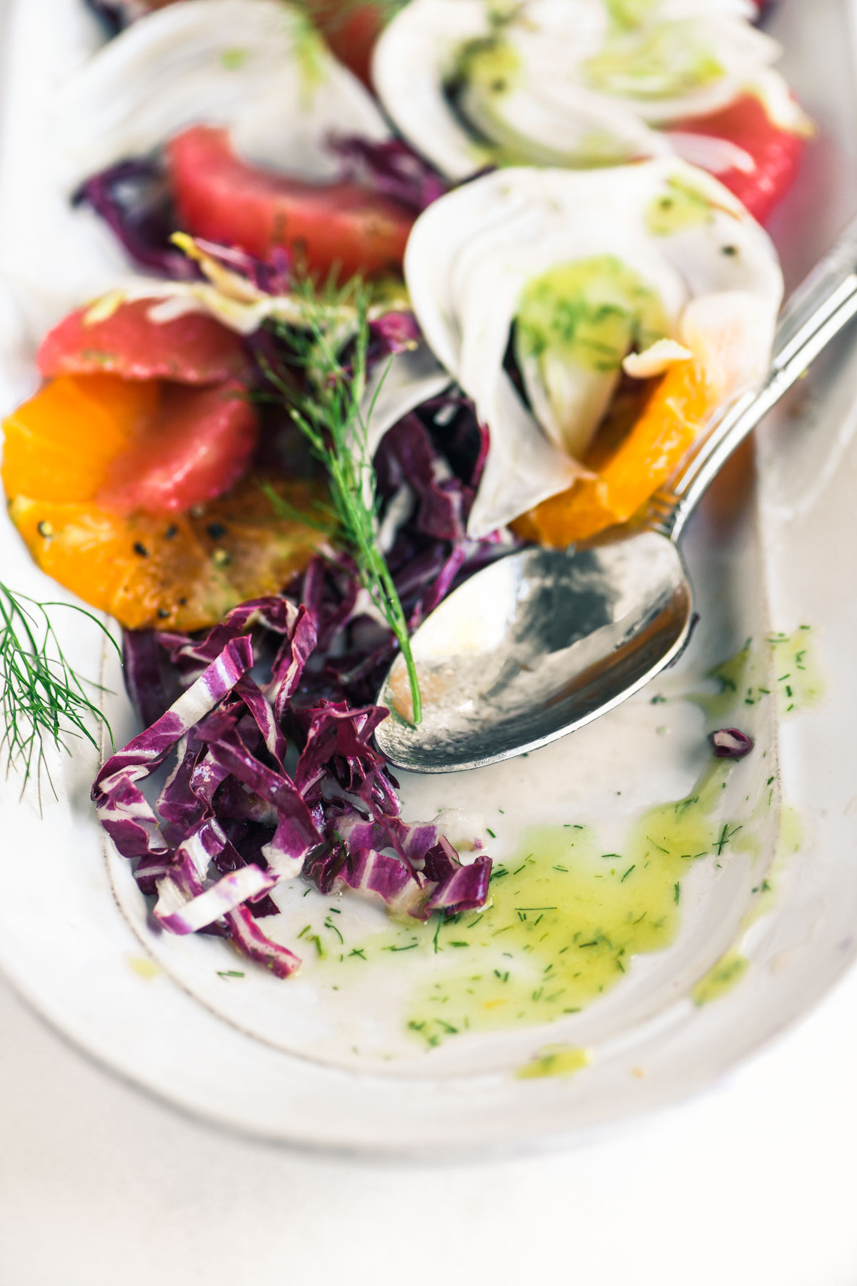 fennel and citrus salad with spoon