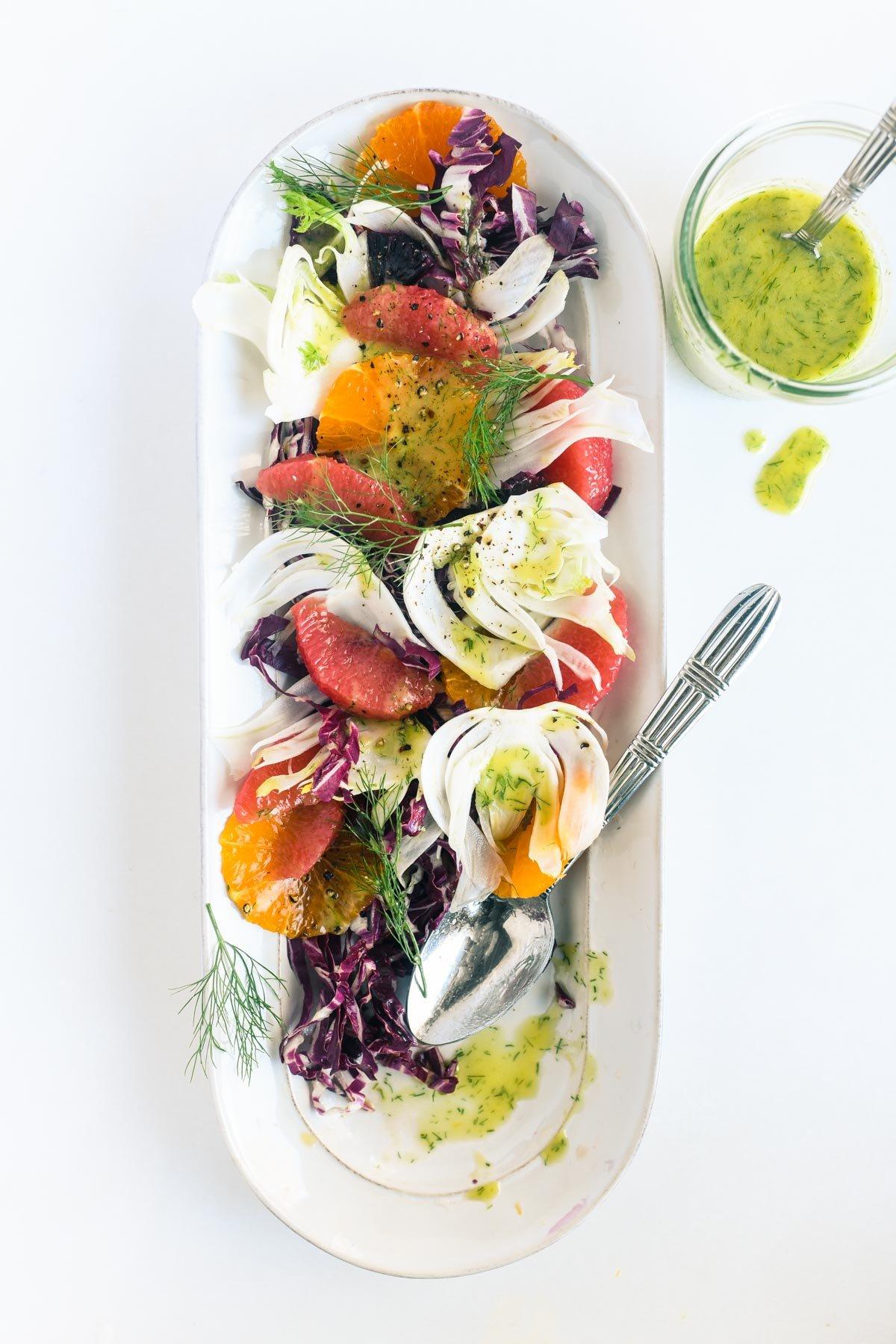 fennel, citrus, and radicchio salad with fennel vinaigrette