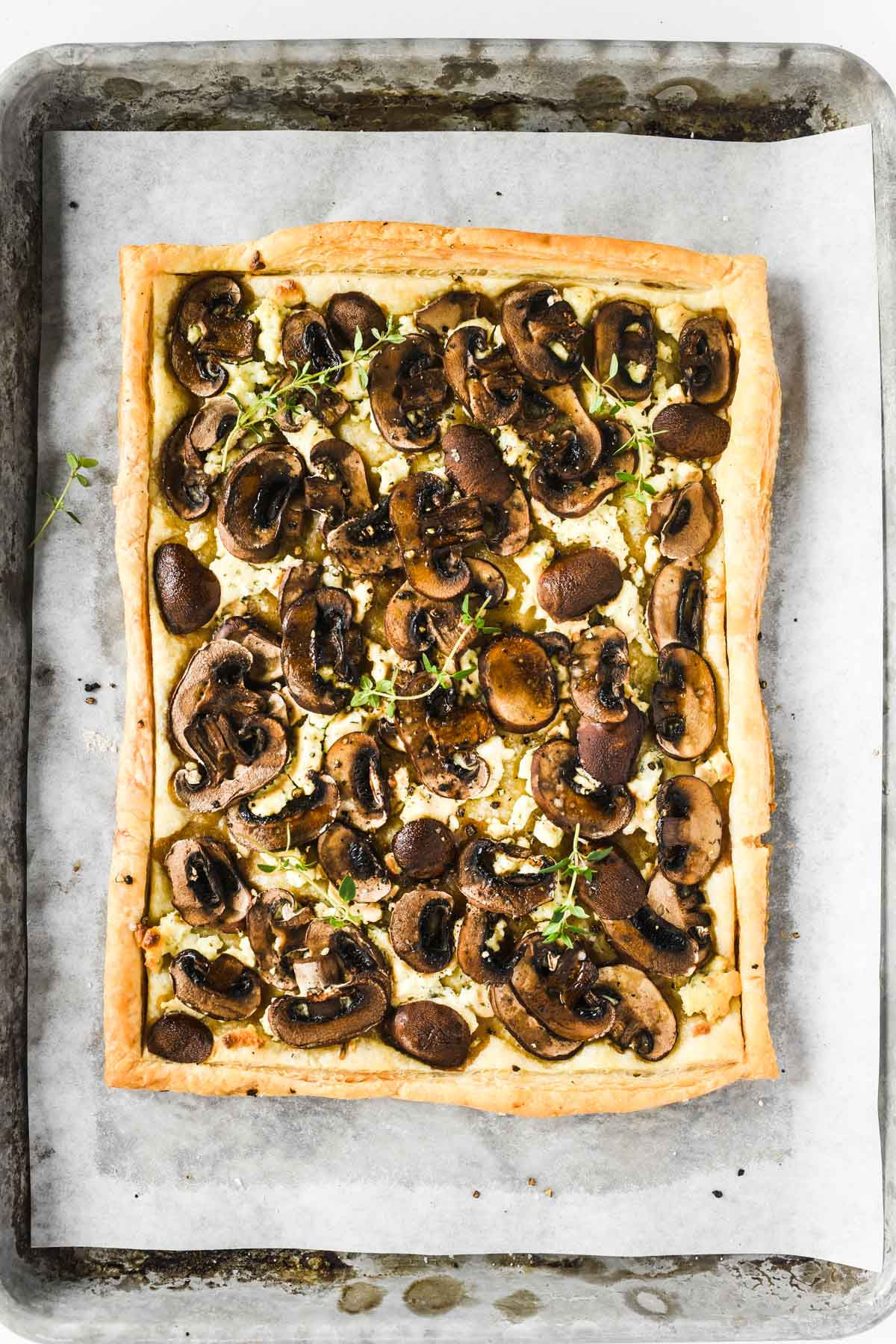 a mushroom and Boursin tart just out of the oven