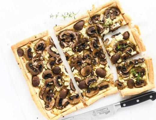 mushroom and Boursin puff pastry tart