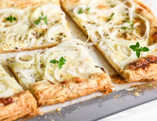 sliced sweet onion tart with fresh thyme