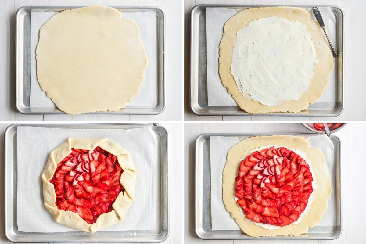 steps for assembling a fruit galette
