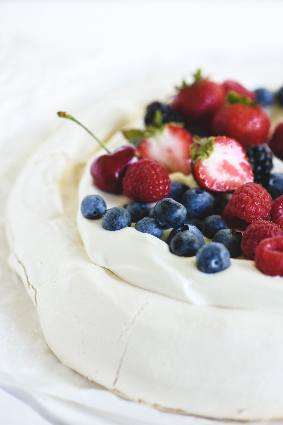fresh fruit on a pavlova meringue