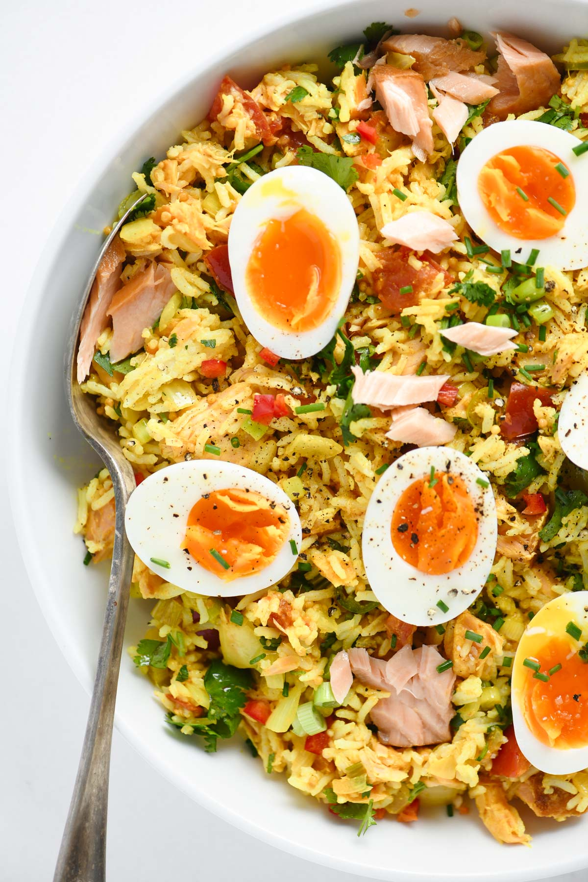 Kedgeree in a bowl with soft cooked eggs