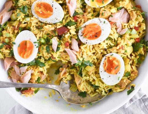 British Kedgeree with soft cooked eggs