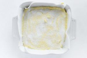 batter for lemon crunch cake in pan