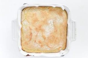 Baked Lemon Crunch Cake in pan
