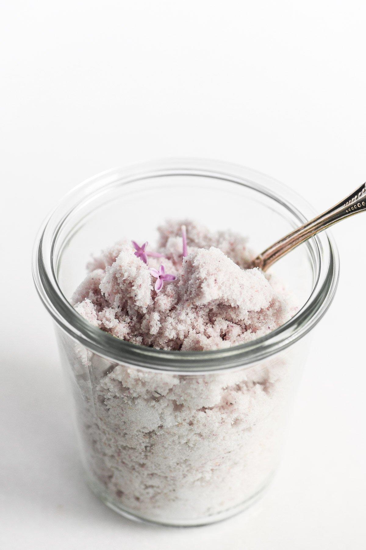 lilac sugar in a jar