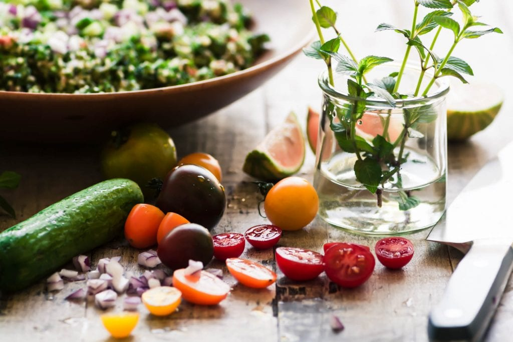 making a loaded tabbouleh salad