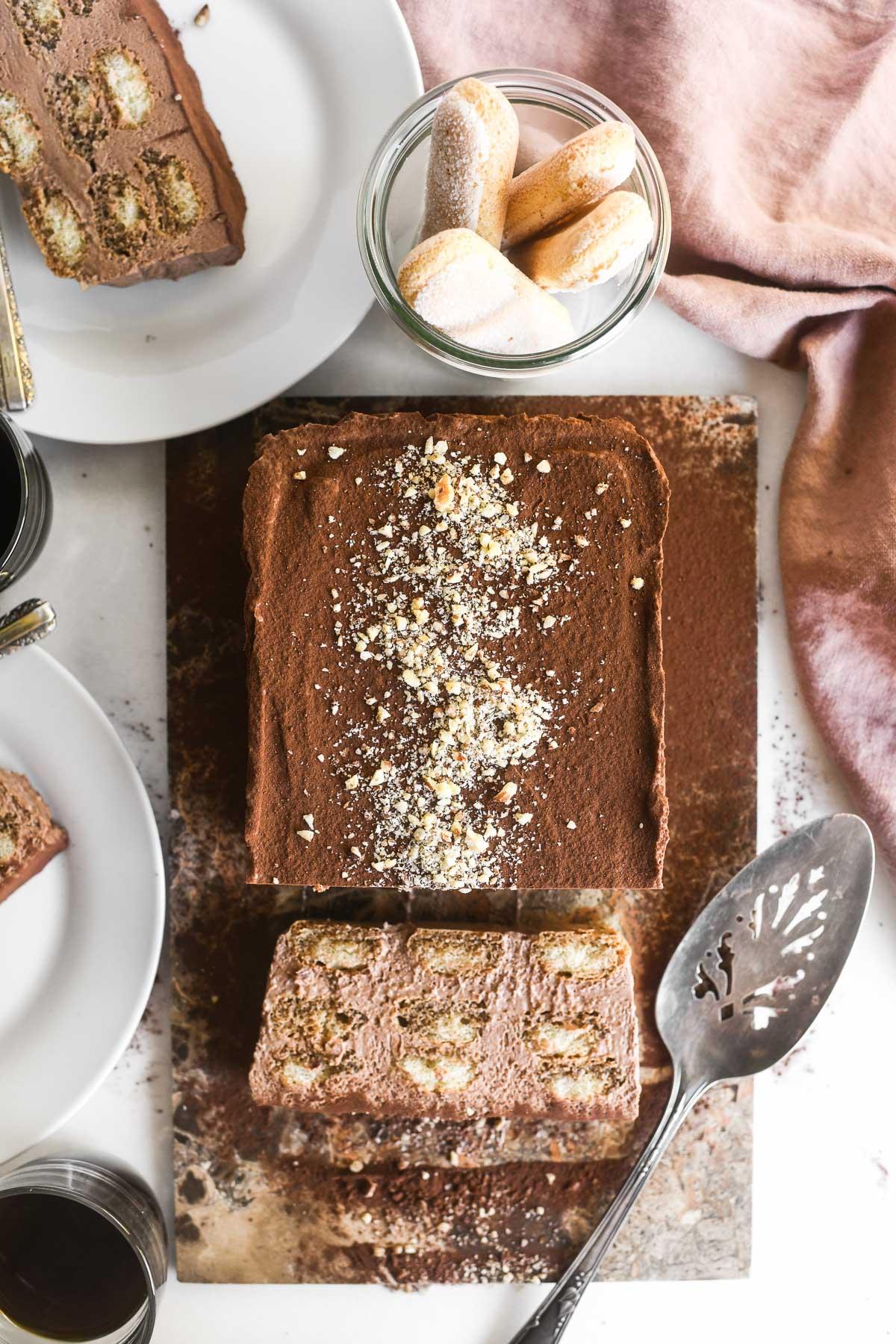 A Nutella Tiramisu cake with lady fingers