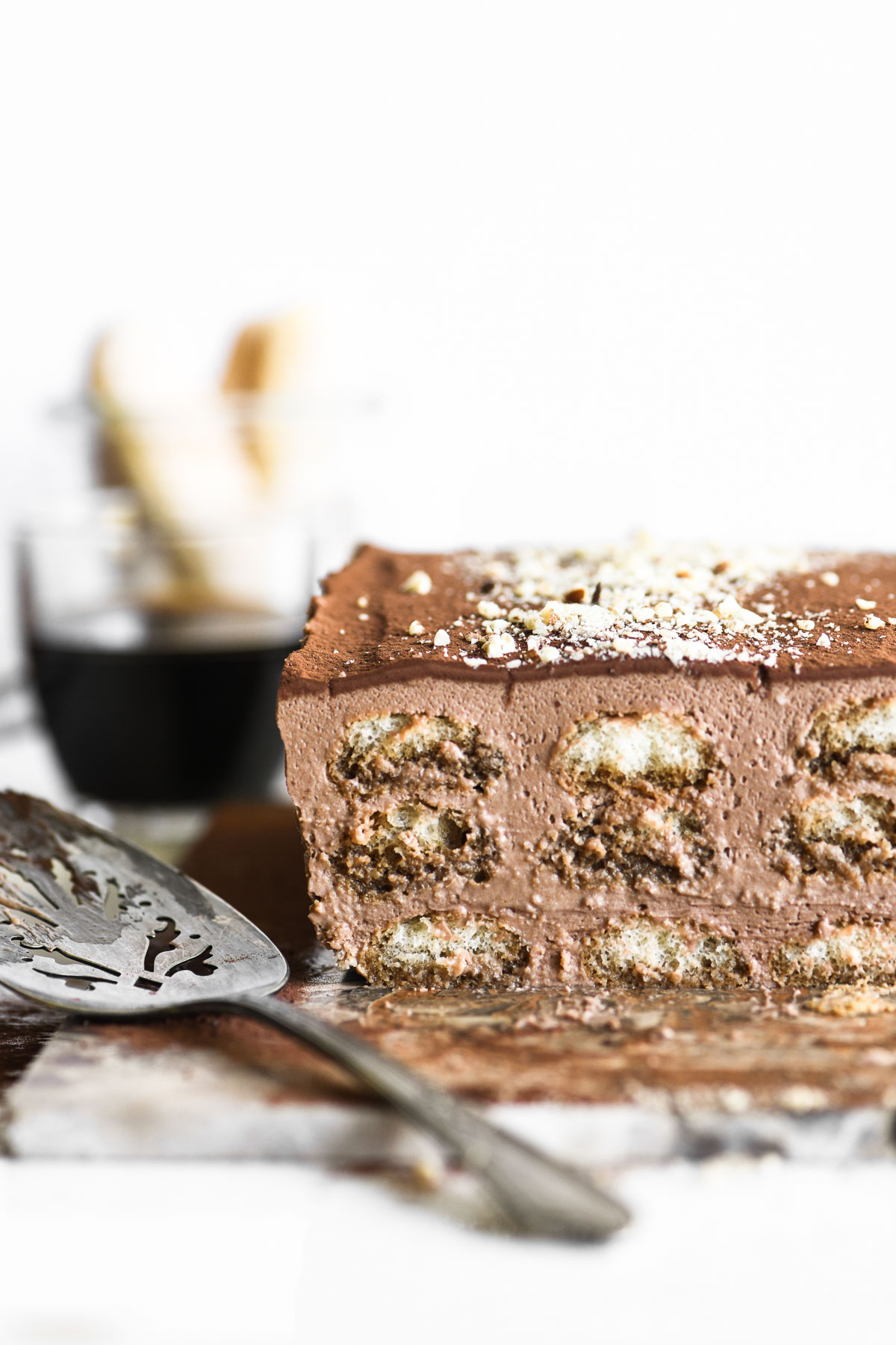 chocolate hazelnut tiramisu, sliced