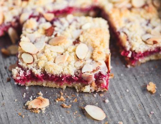 raspberry almond bars in a pan