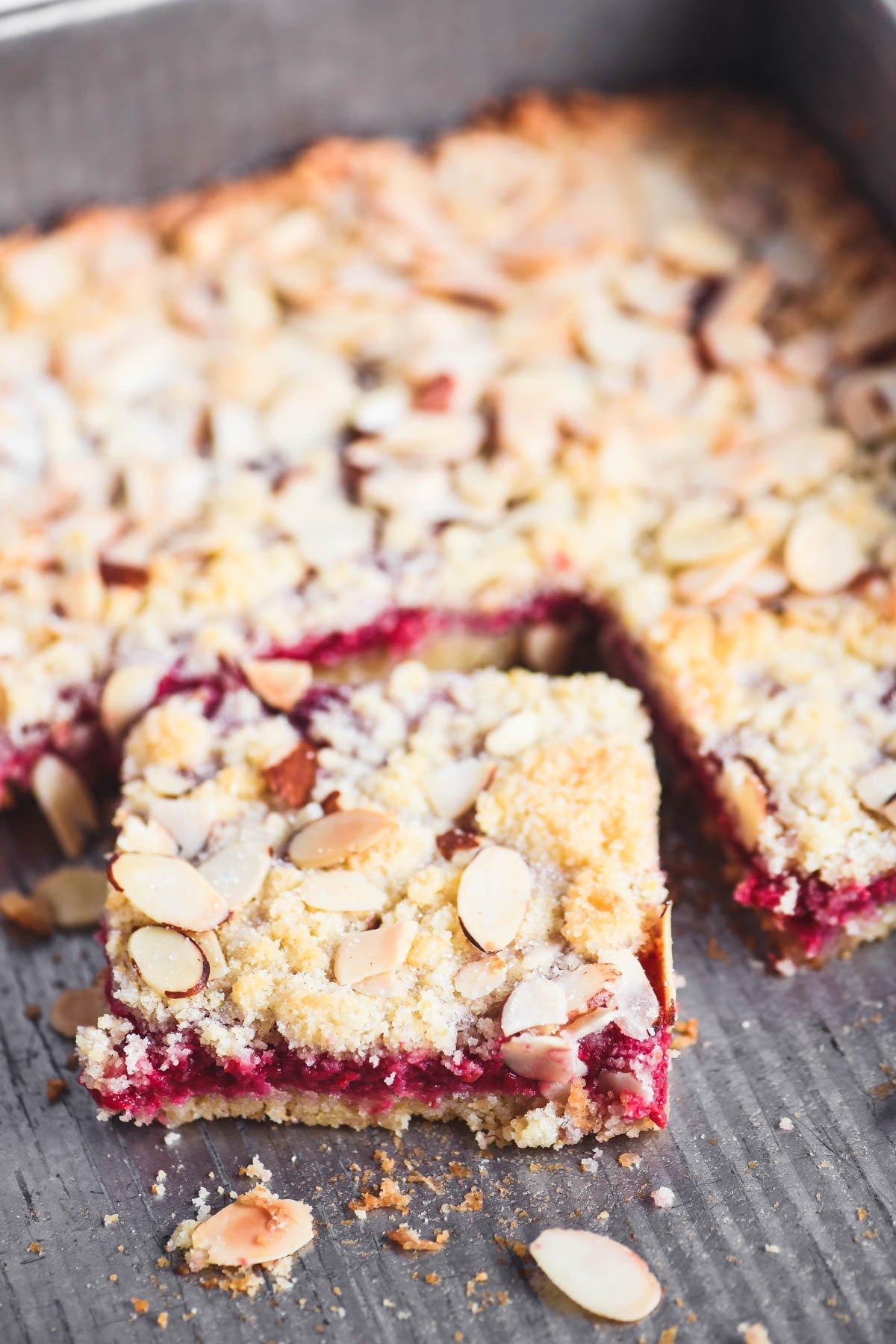 raspberry almond bars in pan