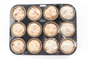 rhubarb muffin batter in muffin pan