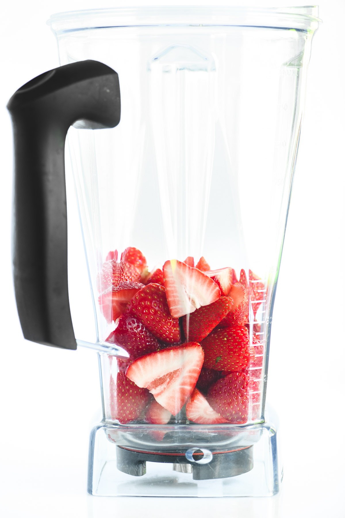 fresh strawberries in a blender