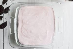 Finished strawberry icebox cake, before chilling.