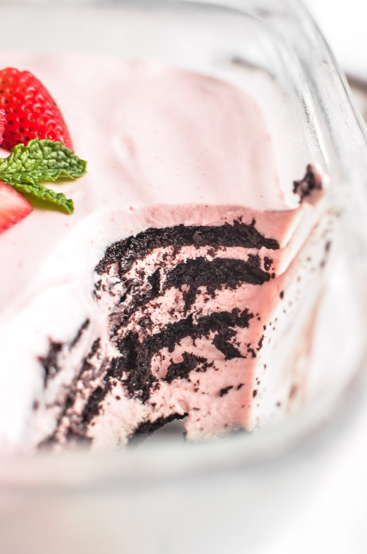 strawberry icebox cake with layers showing