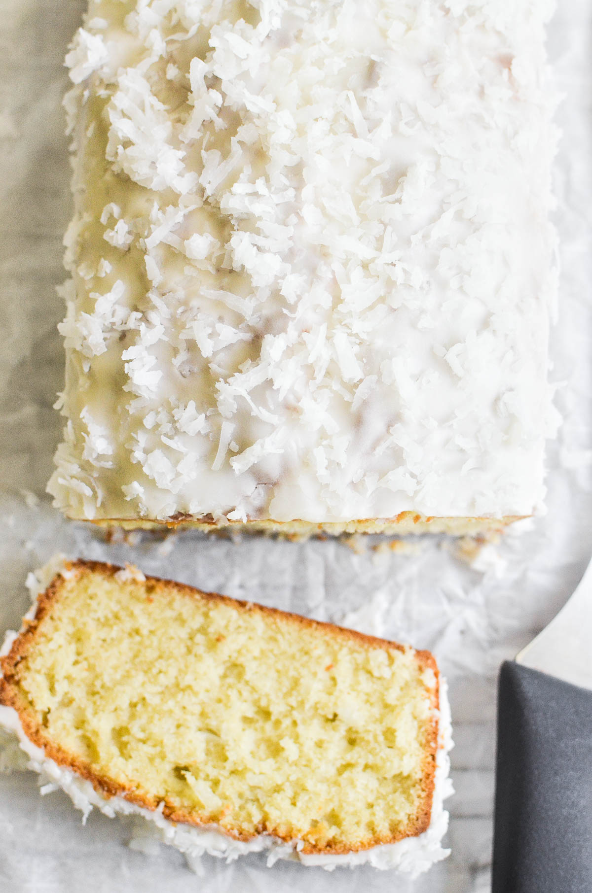 a loaf of coconut cake