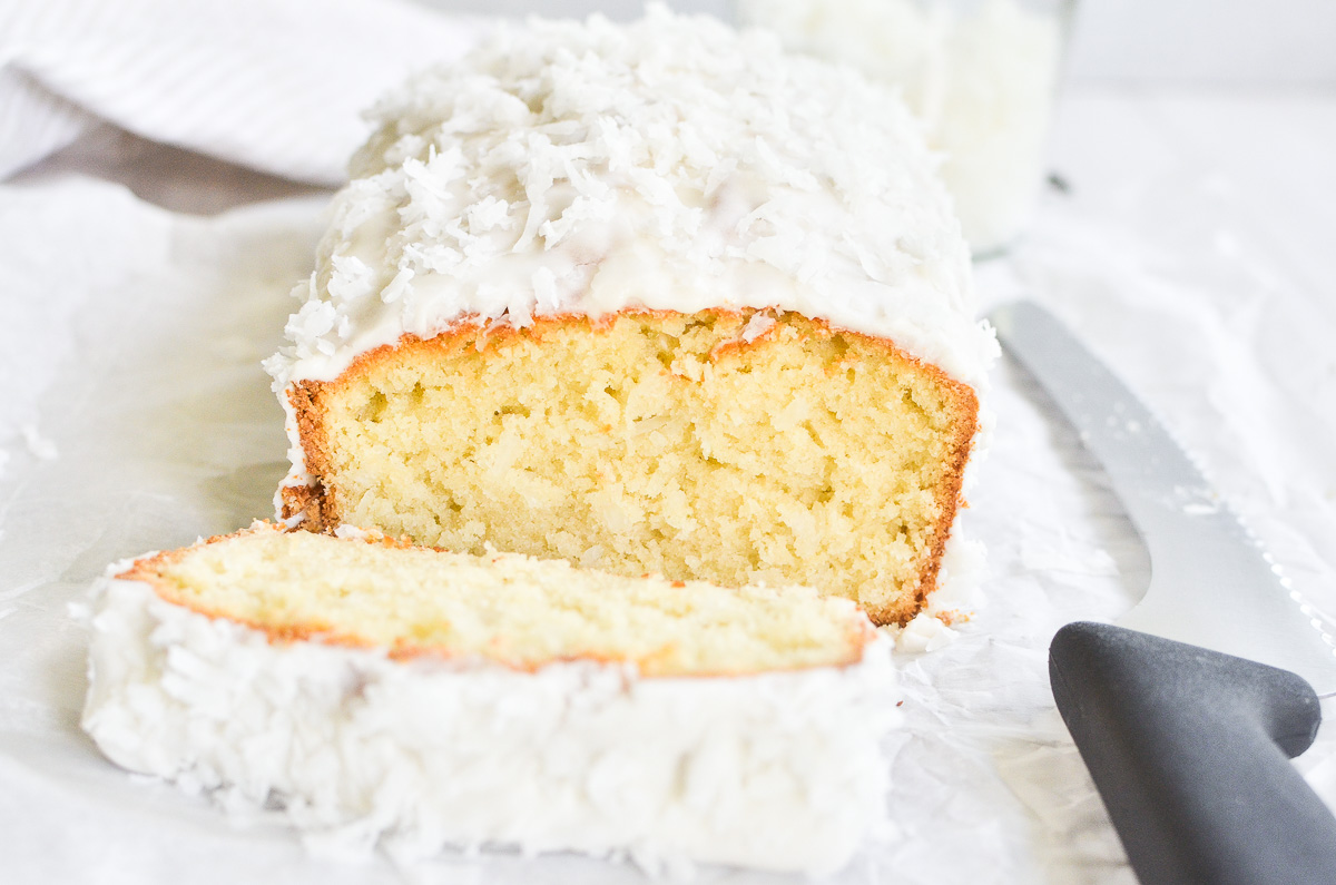 triple coconut pound cake, with knife
