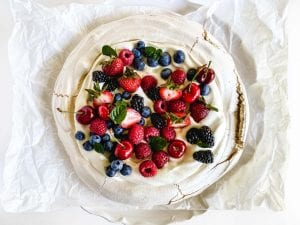 meringue topped with berries