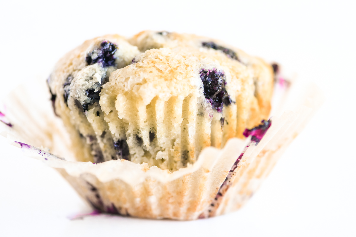 blueberry muffin with paper wrapper
