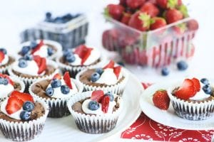 Red white and blue brownie bites with berries