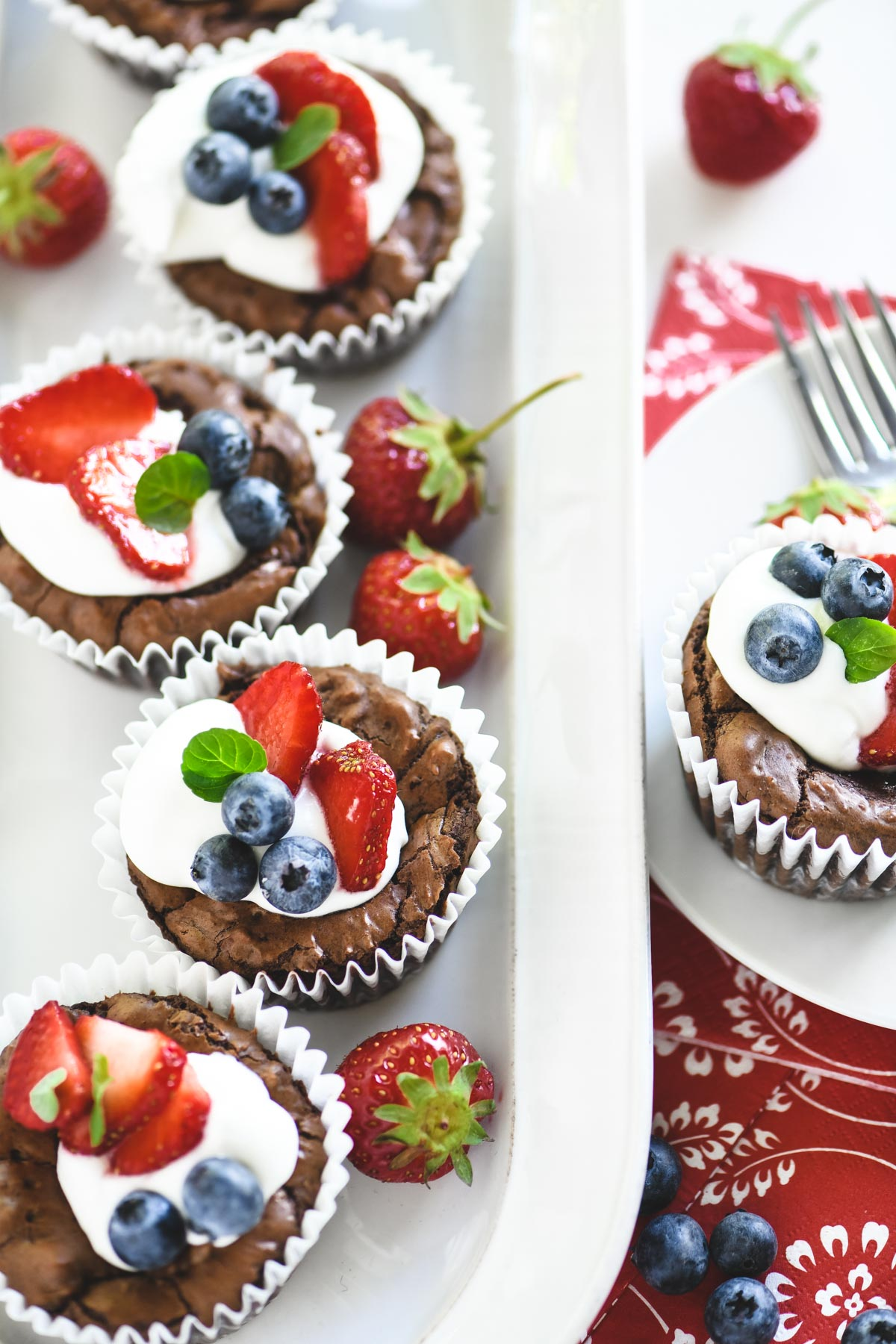 red white and blue brownie bites