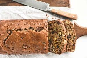 sliced loaf of date nut bread on a bread board