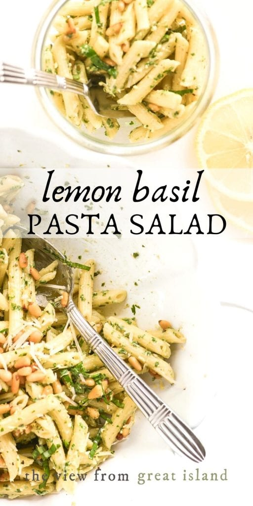 lemon basil pasta salad pin