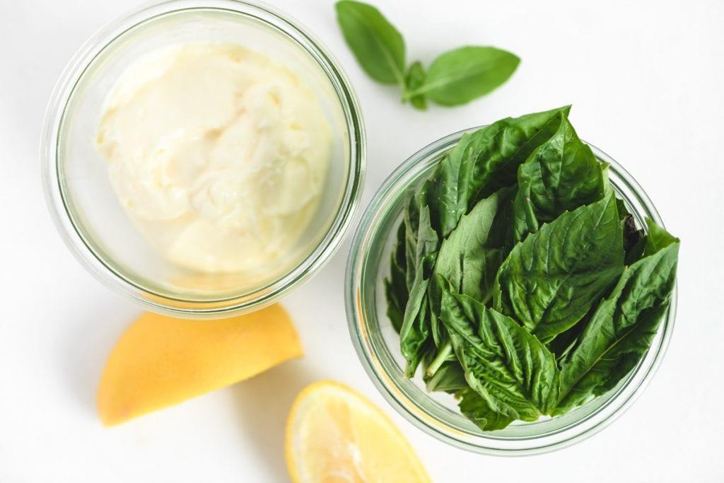 basil and mayonnaise