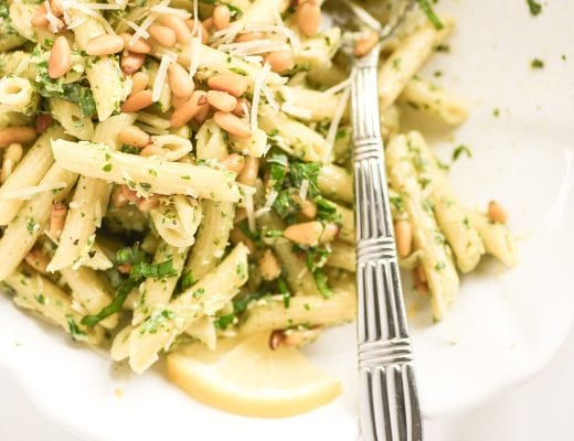 lemon basil pasta salad in a bowl with serving spoon