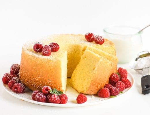lemon chiffon cake with raspberries