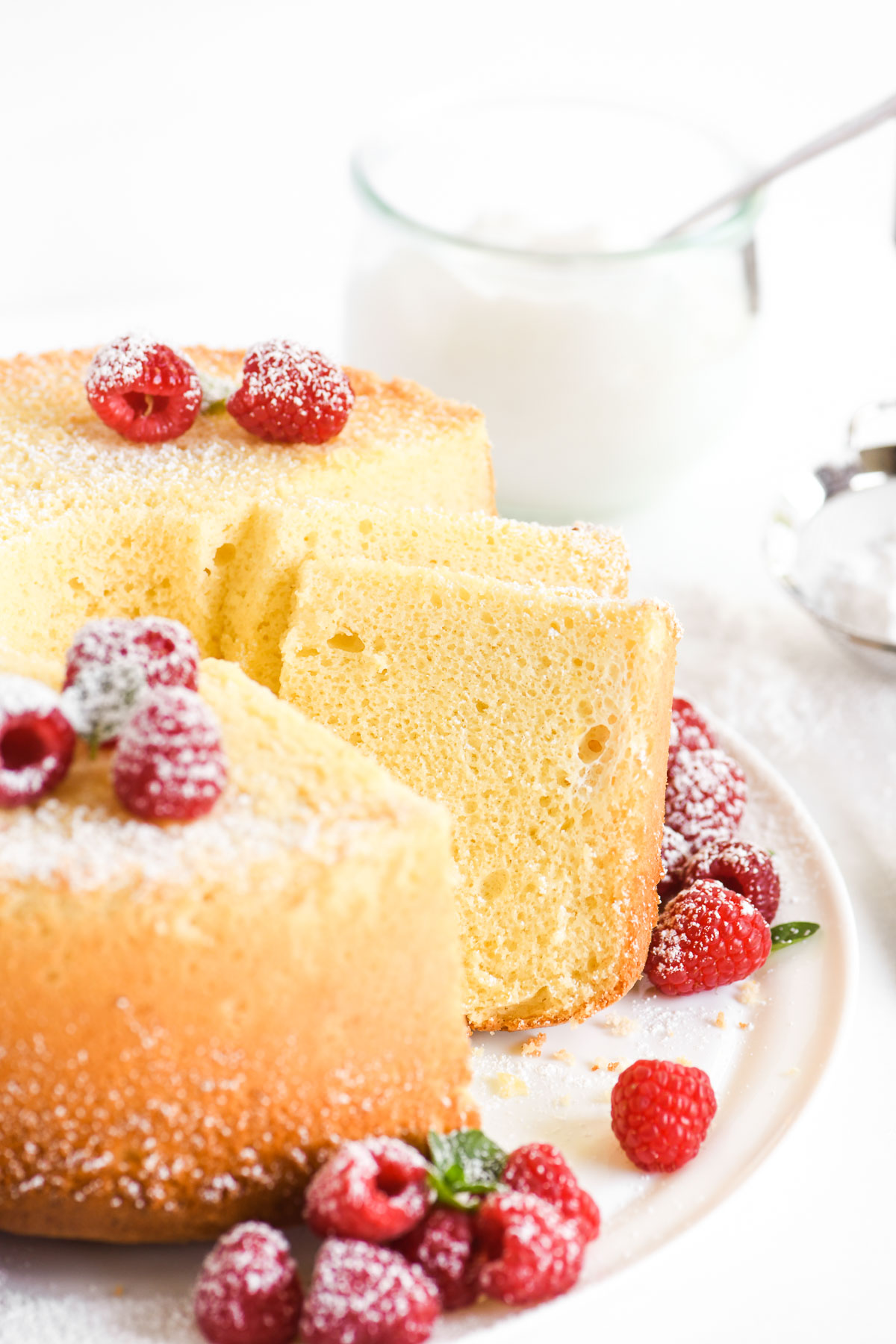 lemon chiffon cake dusted with powdered sugar